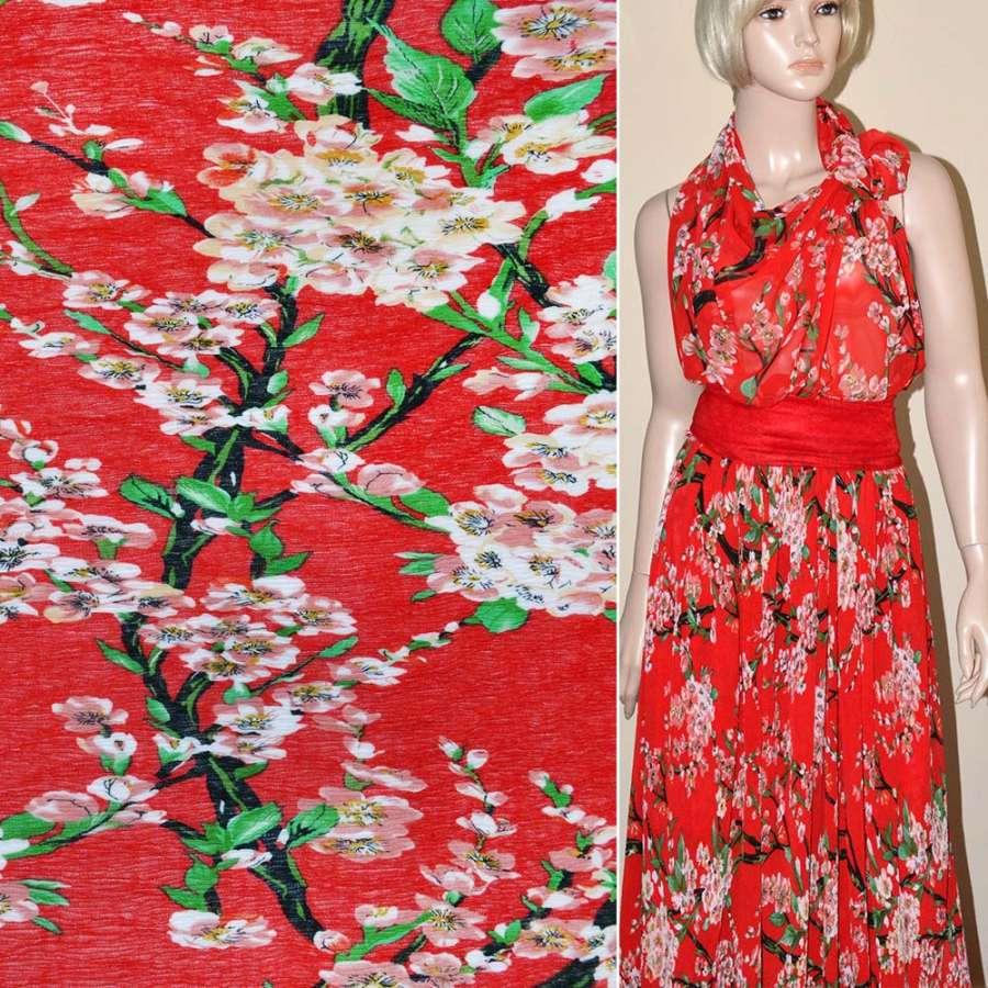Шифон гофре красный с цветущими веточками ш.147