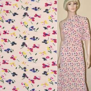 Шифон гофре персиковый с разноцветными цветами ш.145