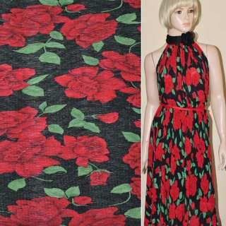 Шифон гофре черный с красными цветами ш.146