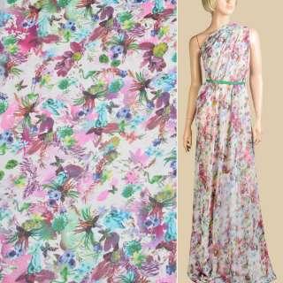 Шифон белый, голубые, фиолетовые цветы, листья, ш.145