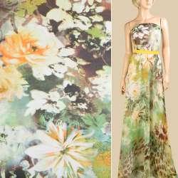Шифон зеленый, оранжевые розы, 1ст. купон, ш.145
