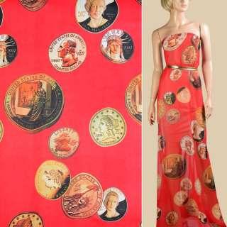 Шифон красный, желтые монеты, ш.145