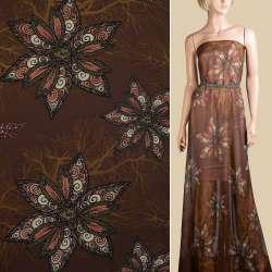 Шифон коричневый в оранжево-молочные цветы с завитками, ш.145