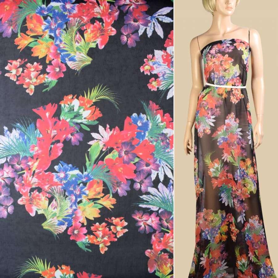 Шифон черный, красно-голубые букеты цветов, ш.145
