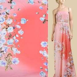 Шифон кораллово-розовый омбре, бело-сиреневые розы, 2ст купон, ш.145