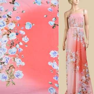 Шифон коралово-рожевий омбре, біло-бузкові троянди, 2 ст купон, ш.145