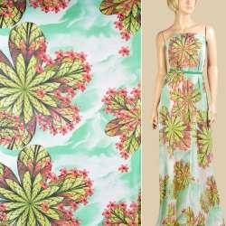 Шифон бело-зеленый, зеленые листья, красные мелкие цветы, ш.147