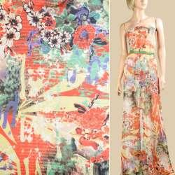 Шифон оранжевый газета, белые, оранжевые цветы, ш.145