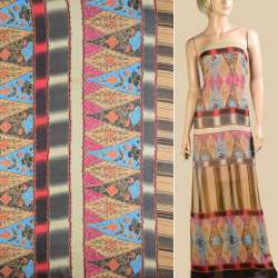 Шифон бежевый, полосы с бежево-голубым орнаментом, 1ст.купон, ш.145