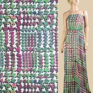 Шифон белый в зелено-фиолетовый абстрактный узор, ш.145