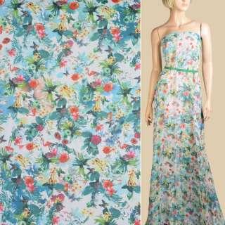 Шифон бело-голубой, красные цветы, фламинго, ш.145