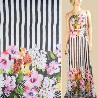 Шифон в черно-белую полоску, сиреневые цветы, 2ст. купон, ш.145