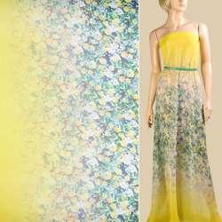 Шифон синий, желтые розы, желтая кайма, 2ст. купон, ш.145