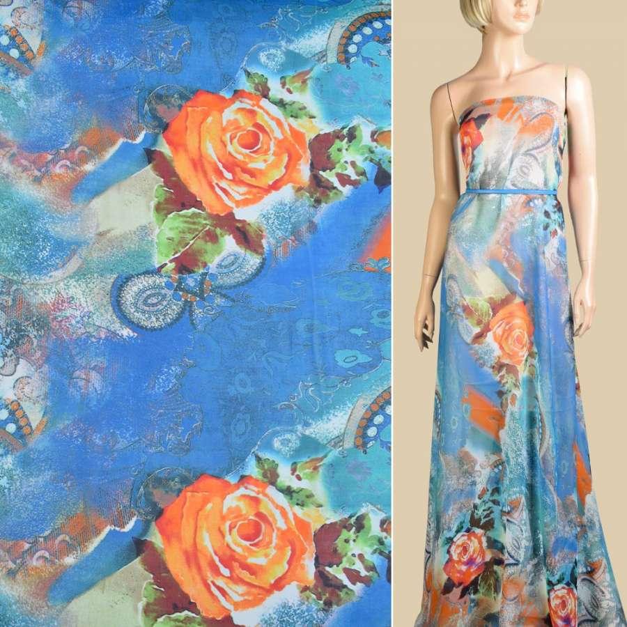 Шифон синий, оранжевые розы, абстрактный рисунок, 2ст. купон, ш.145