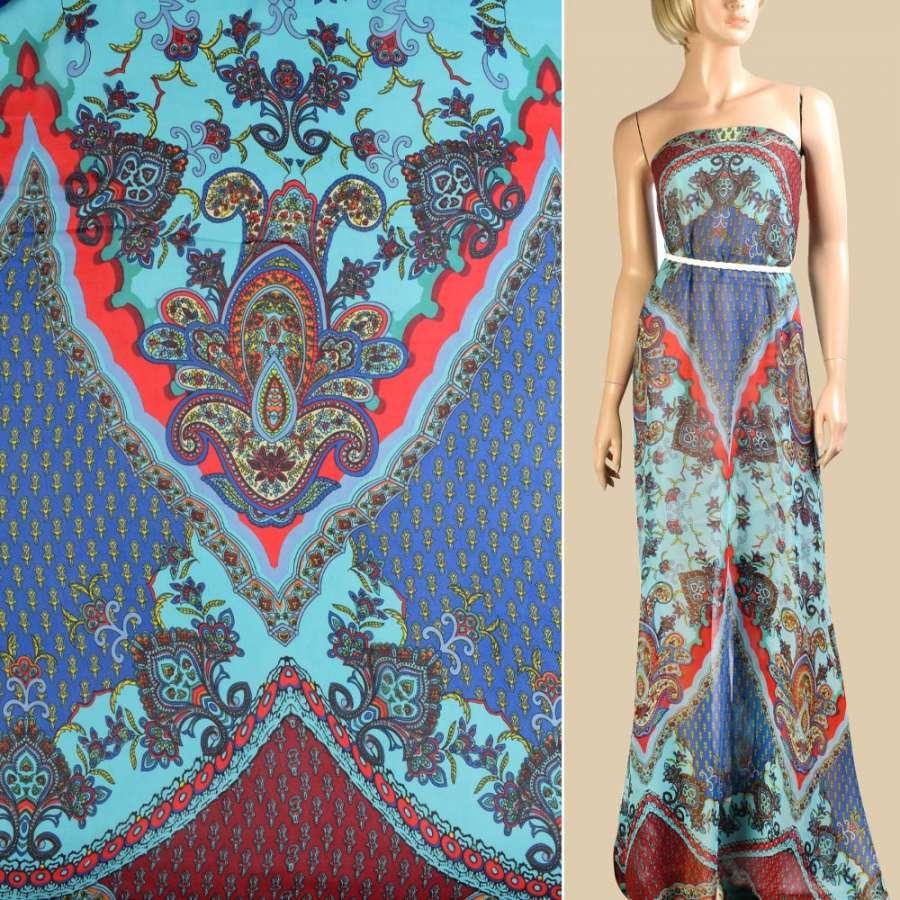 Шифон синий в красно-бирюзовый орнамент, 2ст. купон, ш.145