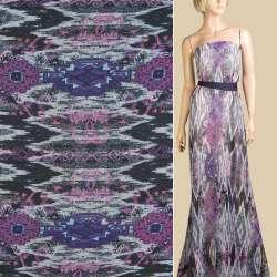 Шифон черно-серый, фиолетовый орнамент, ш.145