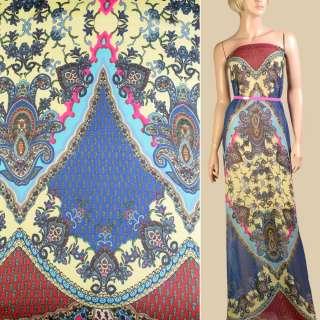 Шифон кремовий в вишнево-синій орнамент, 2 ст. купон, ш.145