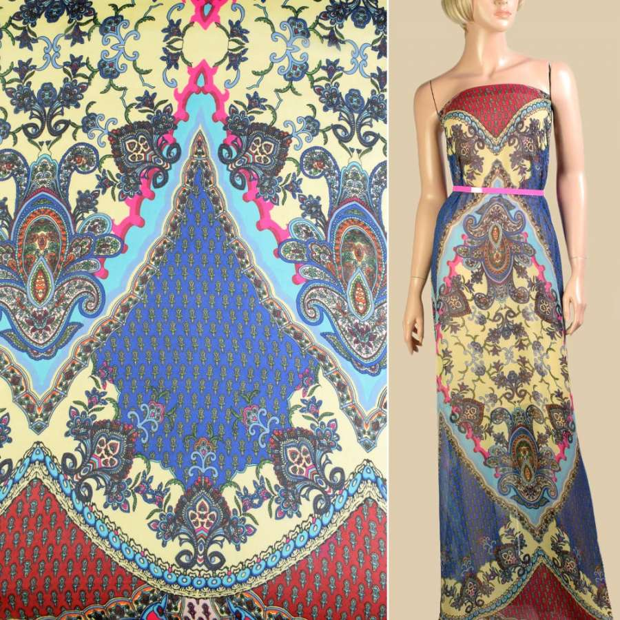 Шифон кремовый в вишнево-синий орнамент, 2ст. купон, ш.145