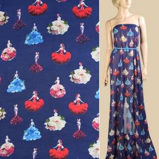 Креп шифон синий темный, девушки в цветочных платьях, ш.148