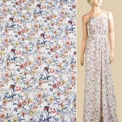 Шифон белый, синие, оранжево-желтые цветы, ш.150