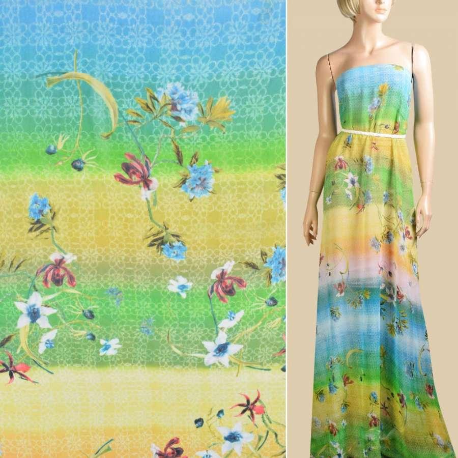 Шифон салатовые, желтые полосы, красные, голубые цветы, ш.145