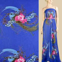 Шифон ультрамарин, розовые розы, ветки, капли, ш.147