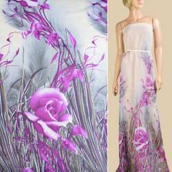 Шифон молочный, фиолетовые розы, 1ст.купон, ш.145