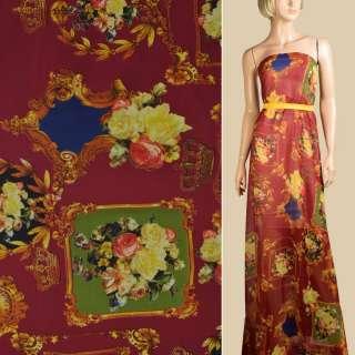 Шифон бордовый, картиный, розы, короны, ш.148