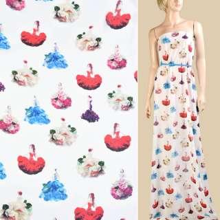 Креп шифон белый, девушки в цветочных платьях, ш.150