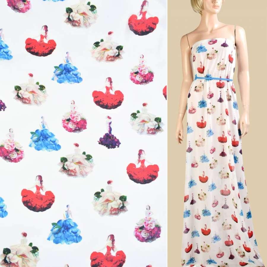 Креп-шифон белый, девушки в цветочных платьях, ш.150