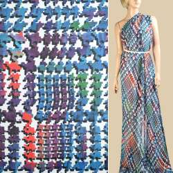 Шифон белый в сине-фиолетовый абстрактный узор, ш.145