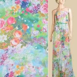 Шифон салатовый, розовые, оранжевые розы, ш.145