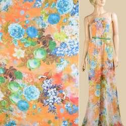 Шифон оранжевый, голубые, зеленые акварельные розы, лилии, ш.147