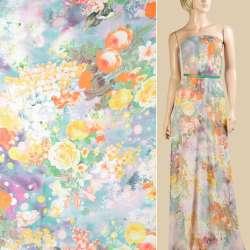 Шифон сиреневый, оранжевые, желтые акварельные розы, лилии, ш.147