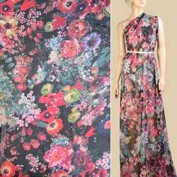 Шифон черный в розовые, оранжевые, синие цветы, ш.145