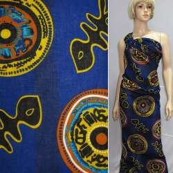 Штапель синий темный с китайской символикой ш.140