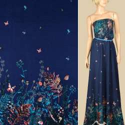 Штапель синий, цветы, бабочки, 2ст.купон, ш.140