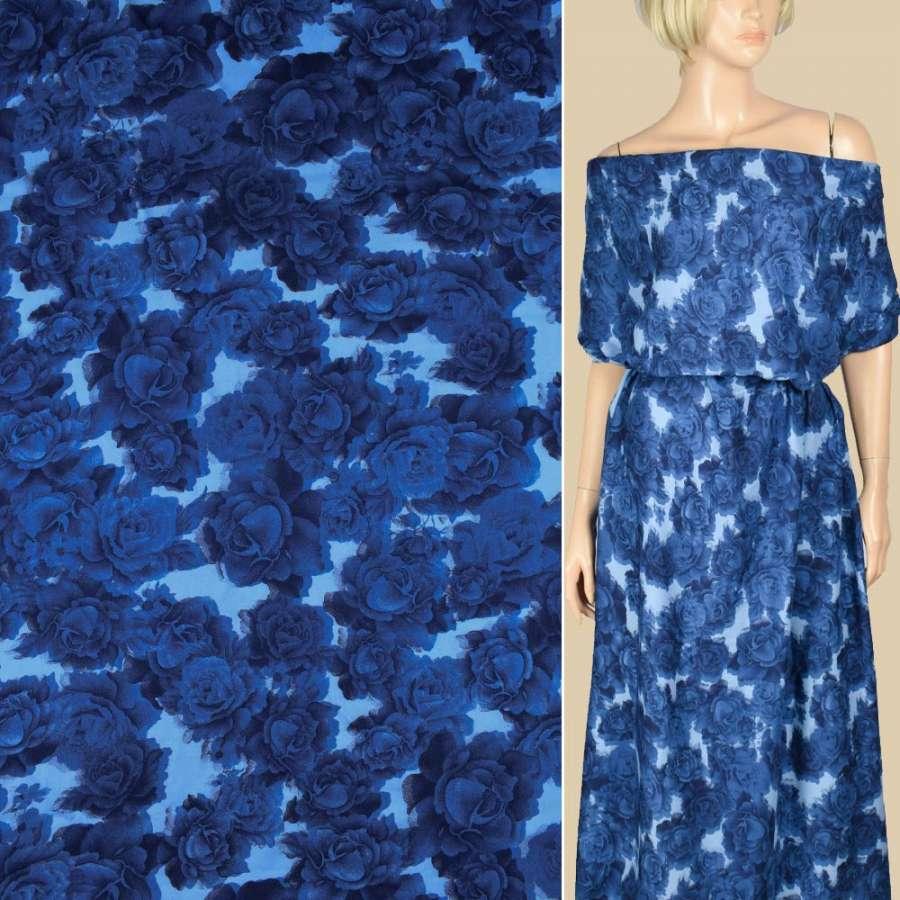Штапель голубой, синие розы, ш.143