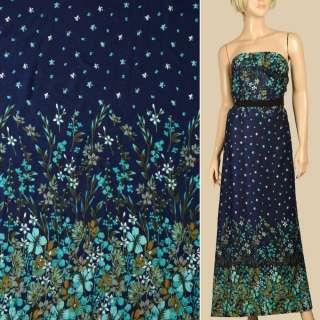 Штапель синий, бирюзовые цветы, цветочная кайма, ш.140