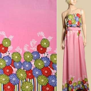 Штапель рожевий, бузкові, салатові, червоні квіти, 2ст.купон, ш.143