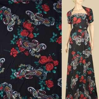 Штапель черный, красные розы, бело-бежевые огурцы, ш.140