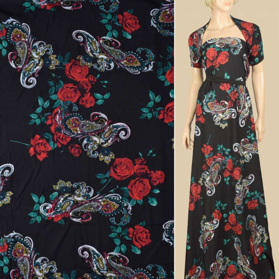 Штапель чорний, червоні троянди, біло-бежеві огірки, ш.140