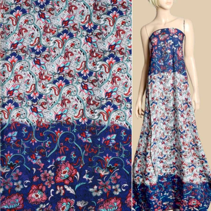 Штапель синій, біло-бірюзовий орнамент, рожеві квіти, 2ст.купон, ш.143