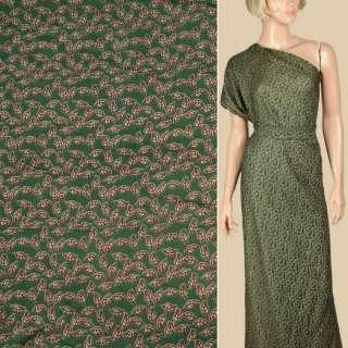 Штапель зеленый, бежевые листочки, ш.145