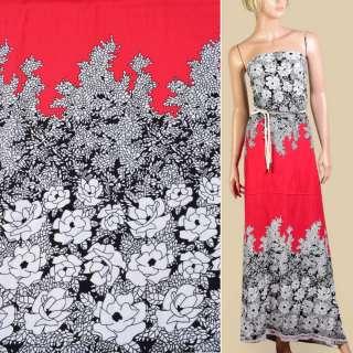 Штапель* красный, черно-белый цветочный узор, 2ст.купон, ш.140