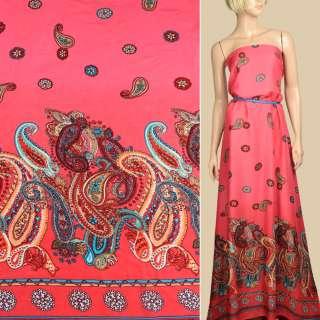 Штапель* коралловый, орнамент красно-бежевые огурцы, 1ст.купон, ш.140