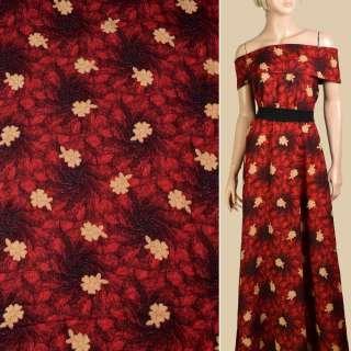 Штапель красно-черный, бежевые цветы, ш.140