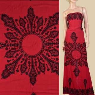 Штапель красный, черный орнамент, 2ст.купон, ш.140