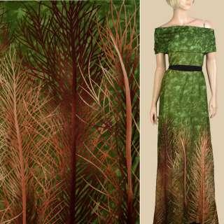 Штапель зеленый, бежевые, коричневые ветки, 1ст.купон, ш.143