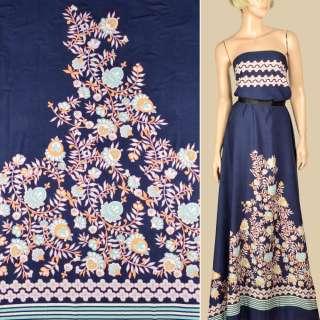 Штапель синий, кайма в полоску и бело-желтые цветы, 1ст.купон, ш.145